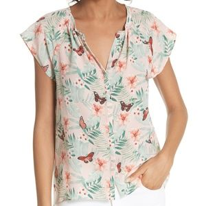 Joie Racel Butterfly Split Neck Silk Top